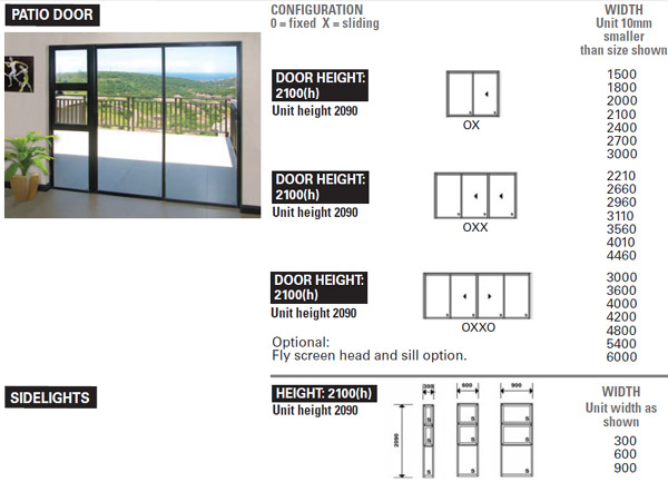 Aluminium sliding doors sizes the image for Wood doors south africa